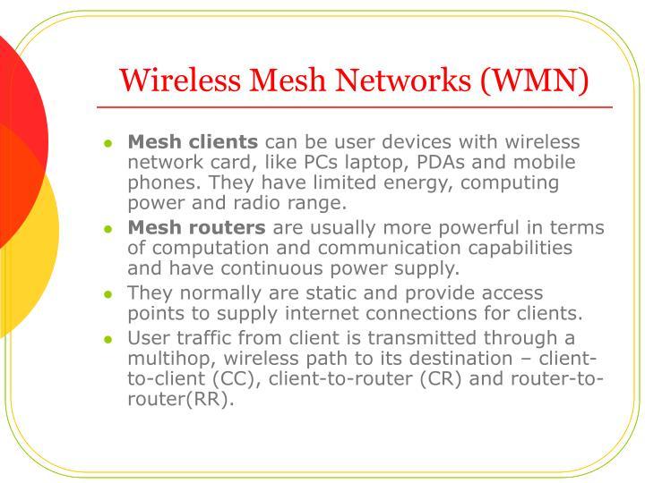 Wireless Mesh Networks (WMN)