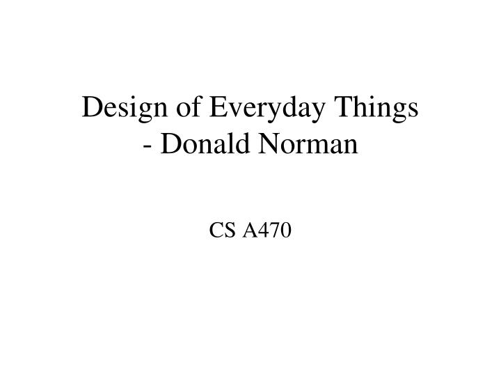Design of everyday things donald norman