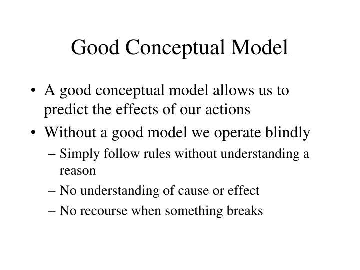 Good Conceptual Model