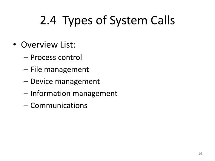 2.4  Types of System Calls