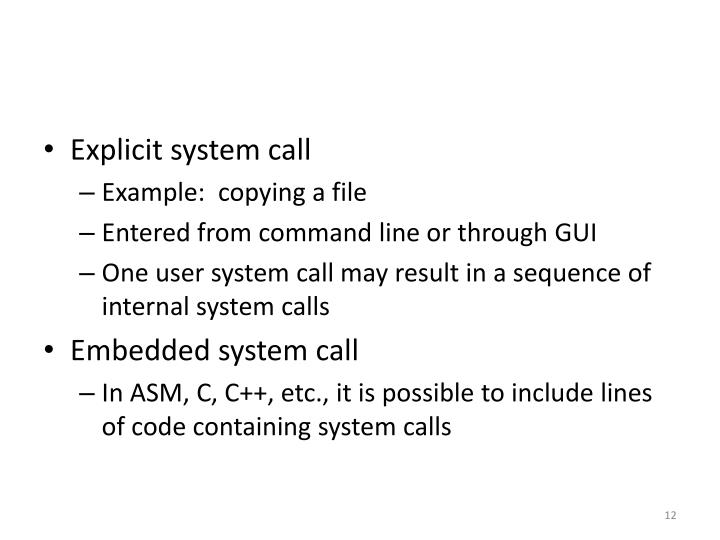 Explicit system call