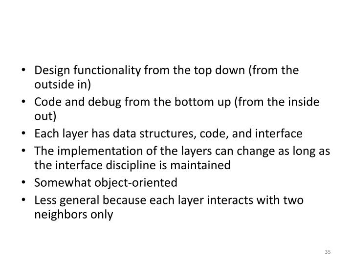 Design functionality from the top down (from the outside in)