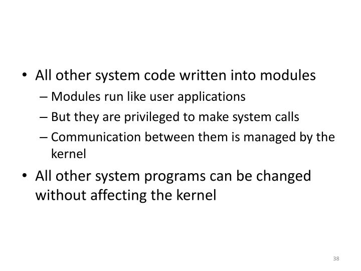 All other system code written into modules