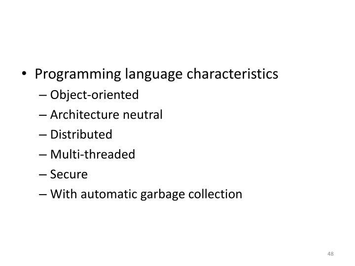 Programming language characteristics