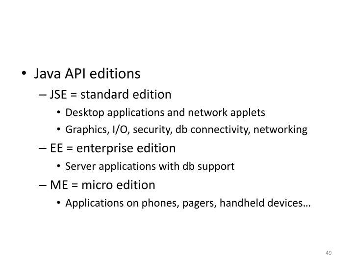 Java API editions