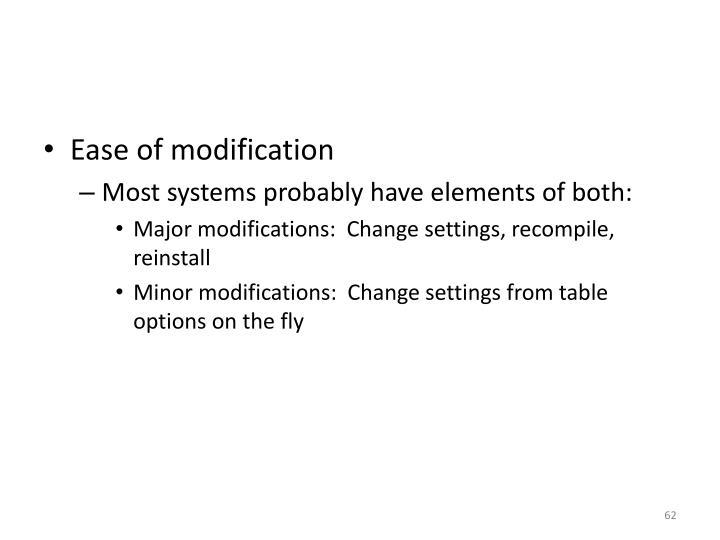 Ease of modification