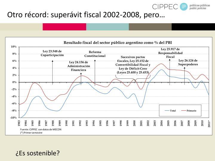 Otro récord: superávit fiscal 2002-2008, pero…