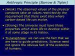 anthropic principle barrow tipler