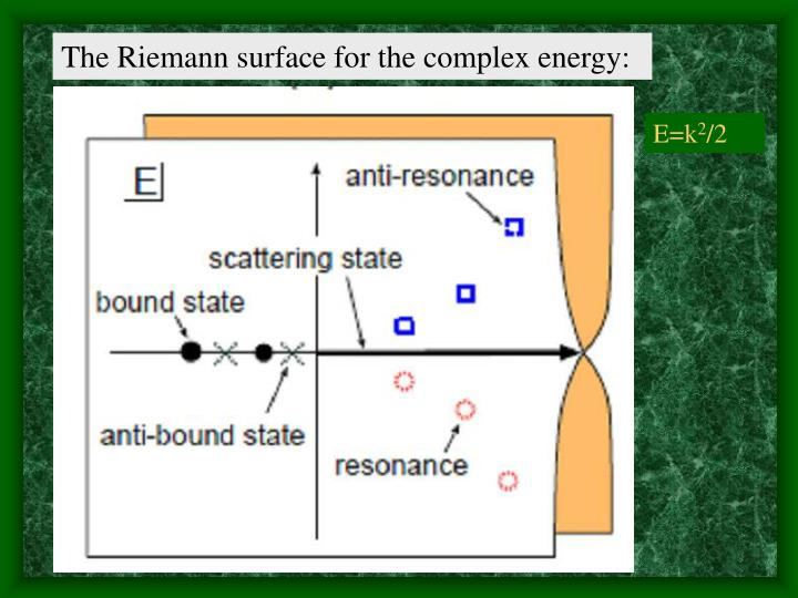 The Riemann surface for the complex energy: