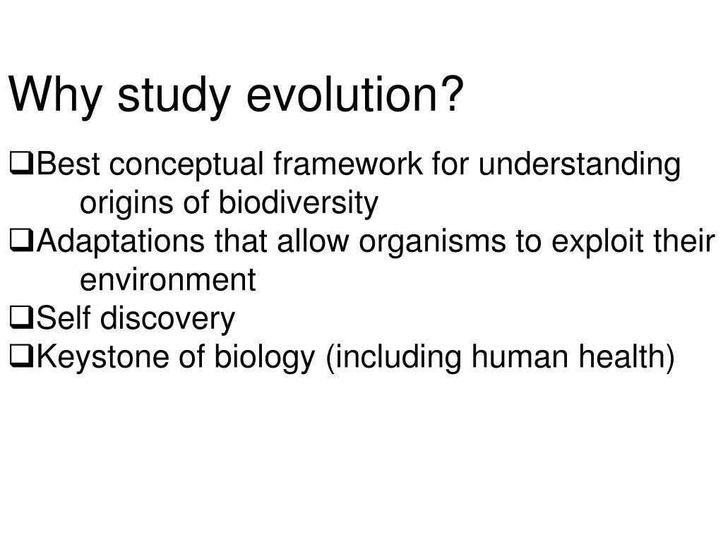 PPT - Why study evolution? Best conceptual framework for understanding  origins of biodiversity PowerPoint Presentation - ID:6217794