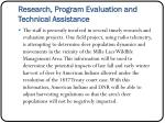 research program evaluation and technical assistance