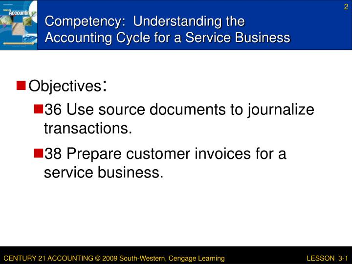 Competency understanding the accounting cycle for a service business
