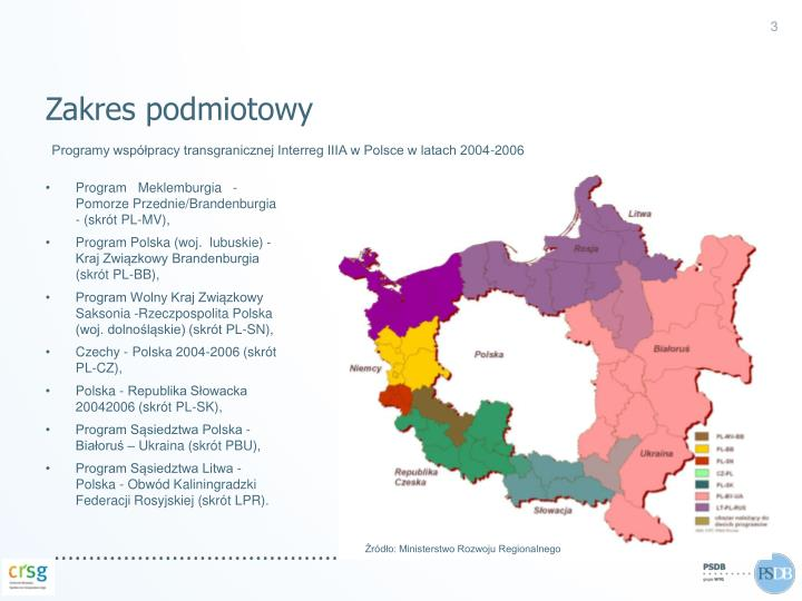 Programy wsp pracy transgranicznej interreg iiia w polsce w latach 2004 2006