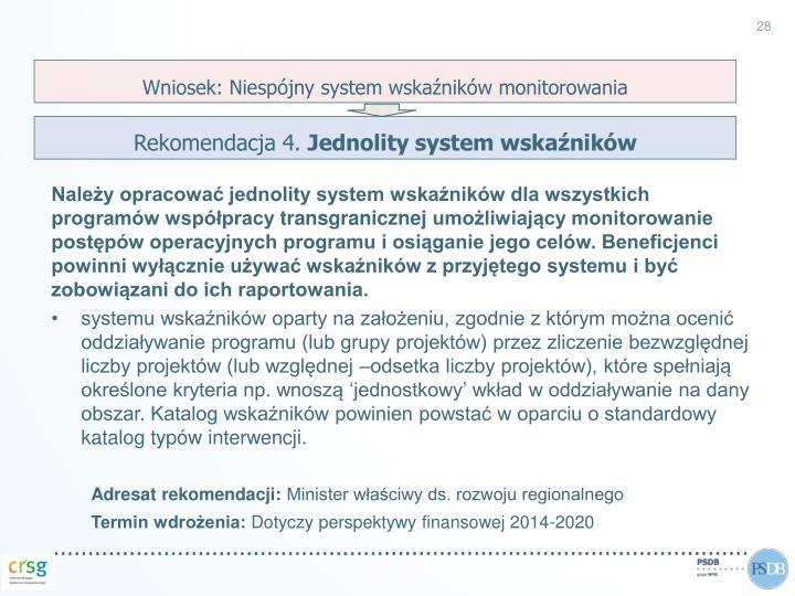 Wniosek: Niespójny system wskaźników monitorowania