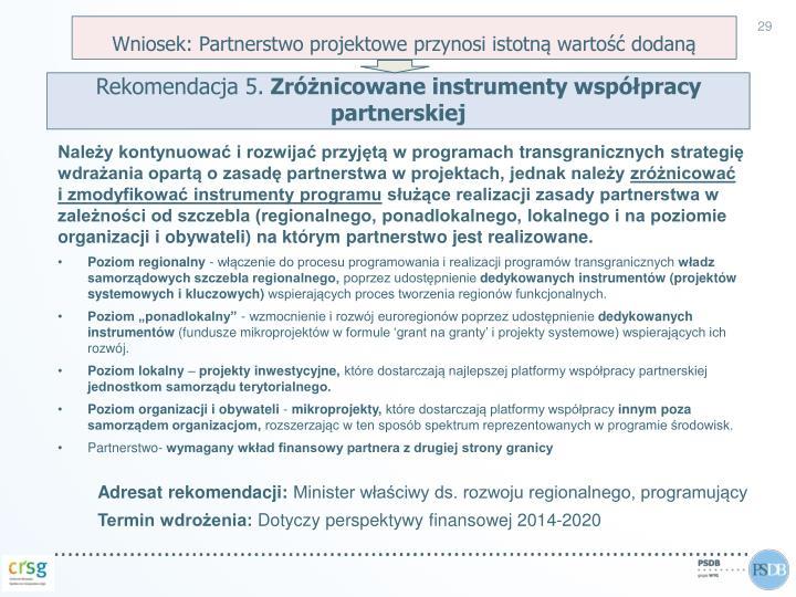 Wniosek: Partnerstwo projektowe przynosi istotną wartość dodaną