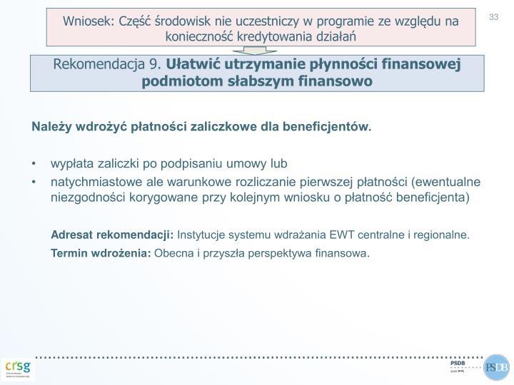 Wniosek: Część środowisk nie uczestniczy w programie ze względu na konieczność kredytowania działań