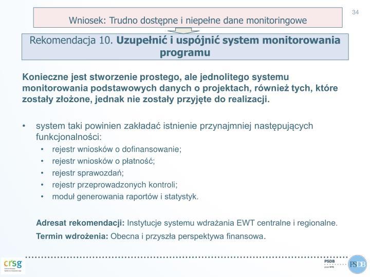 Wniosek: Trudno dostępne i niepełne dane monitoringowe