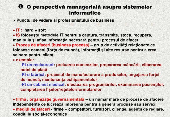 O perspectiv managerial asupra sistemelor informatice1