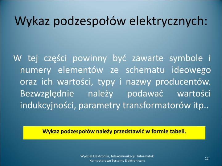 W tej części powinny być zawarte symbole i numery elementów ze schematu ideowego oraz ich wartości, typy i nazwy producentów.  Bezwzględnie należy podawać wartości indukcyjności, parametry transformatorów itp..