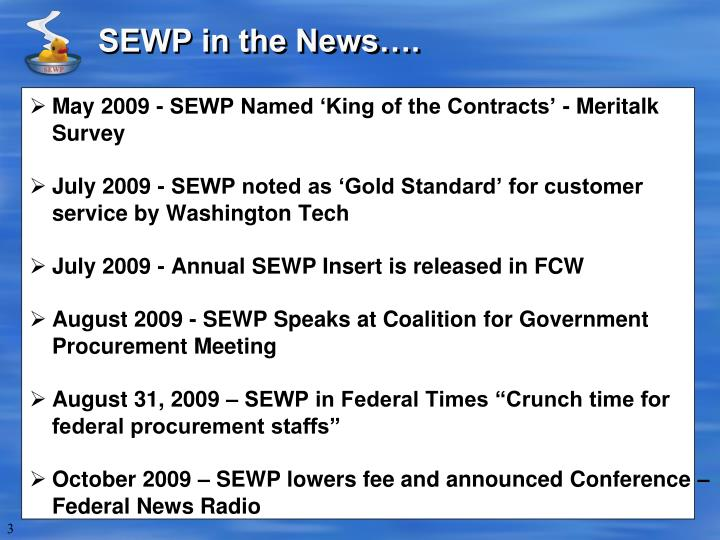 Sewp in the news