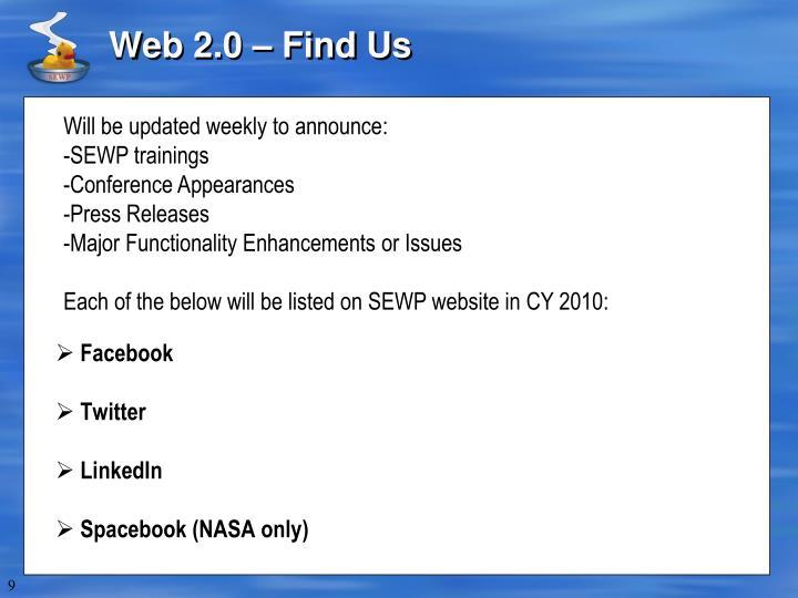 Web 2.0 – Find Us