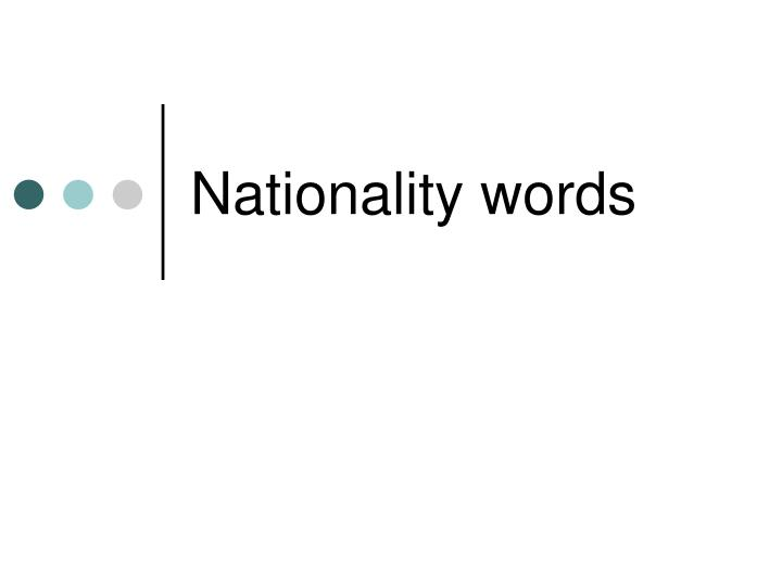 nationality words n.