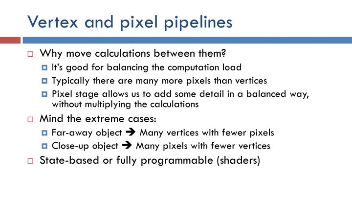 Vertex and pixel pipelines
