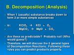 b decomposition analysis