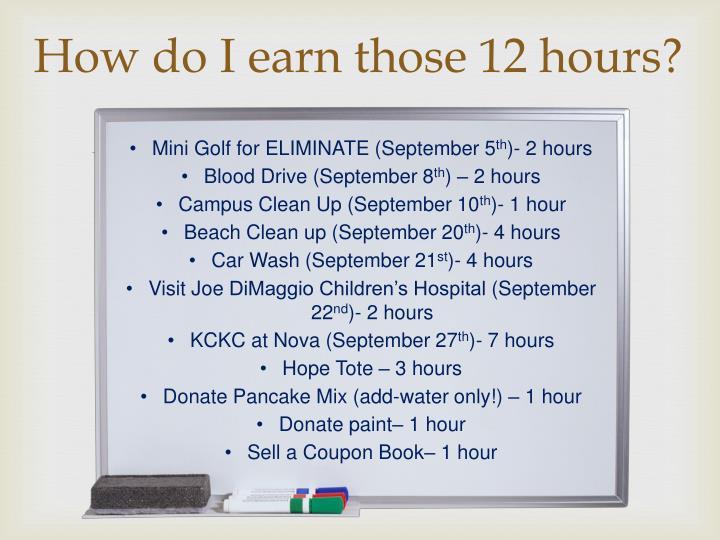 How do I earn those 12 hours?