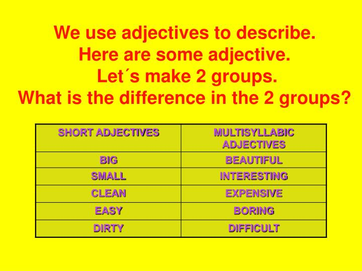 We use adjectives to describe.