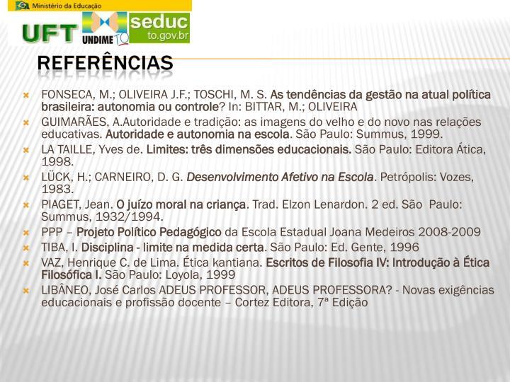 FONSECA, M.; OLIVEIRA J.F.; TOSCHI, M. S.