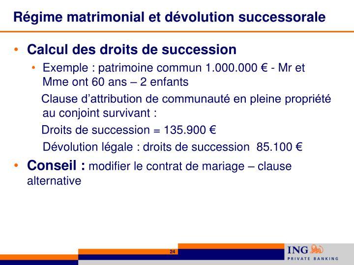 Régime matrimonial et dévolution successorale
