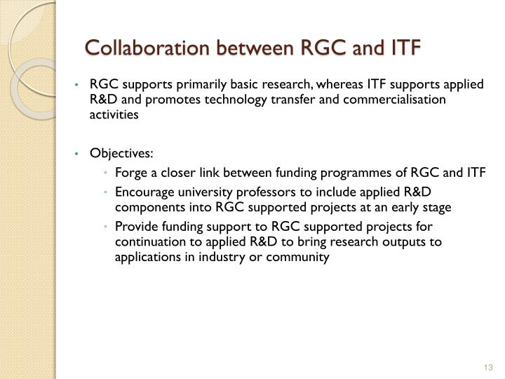 Collaboration between RGC and ITF