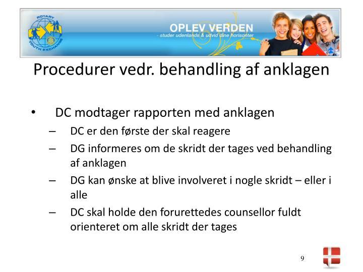 Procedurer vedr. behandling af anklagen