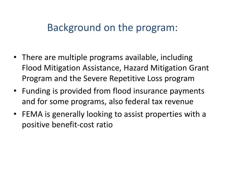 Background on the program: