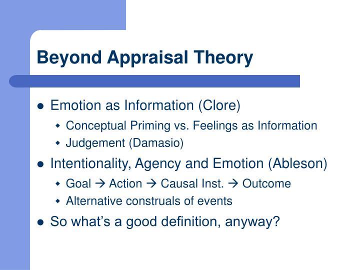 Beyond Appraisal Theory