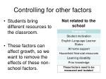 controlling for other factors