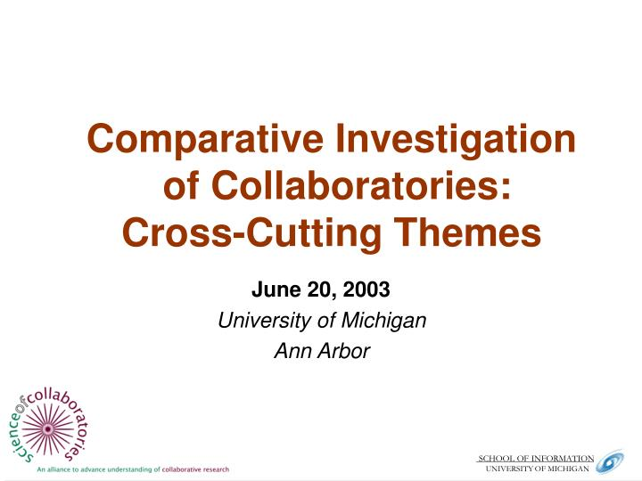 comparative investigation of collaboratories cross cutting themes n.