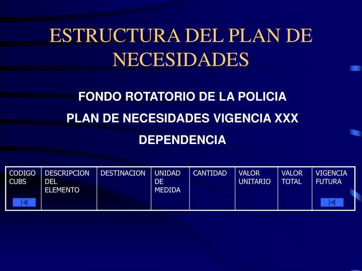 Estructura del plan de necesidades