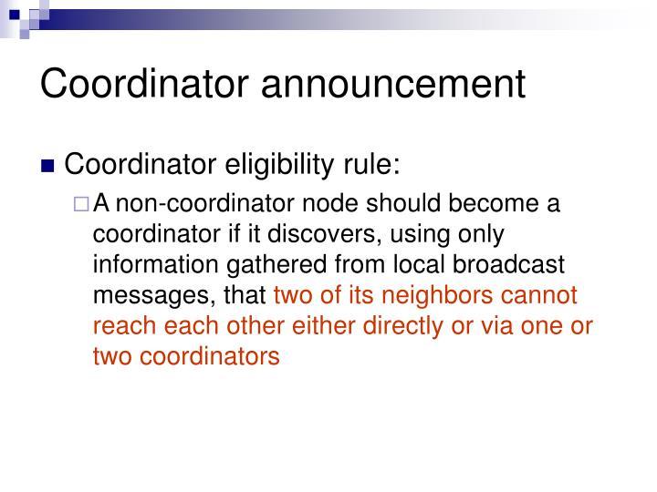 Coordinator announcement