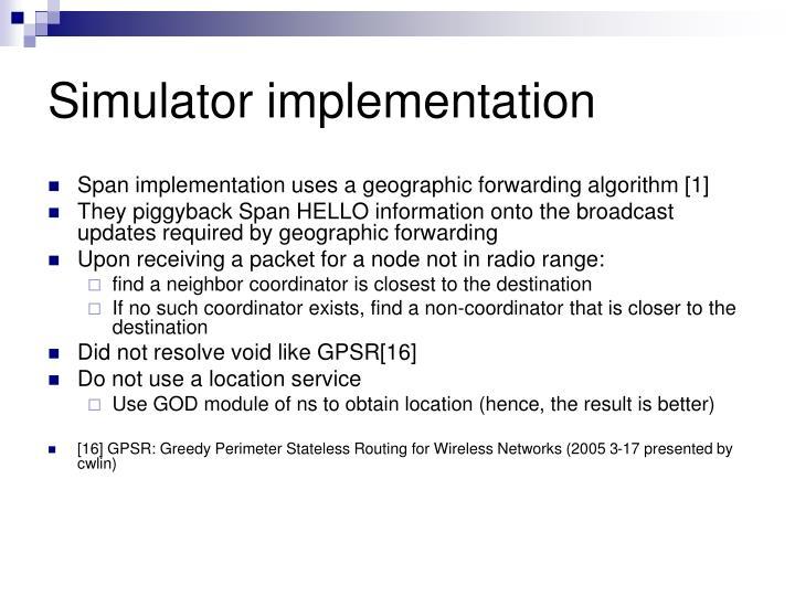Simulator implementation