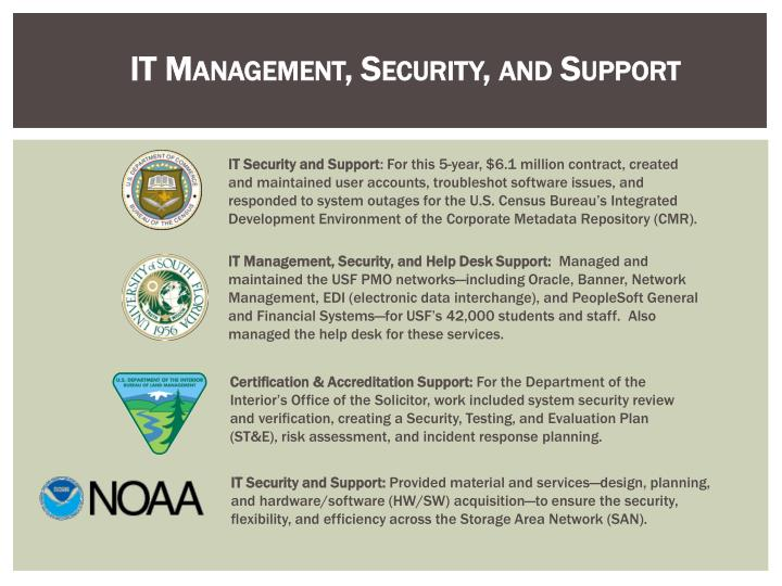 IT Management, Security, and Support