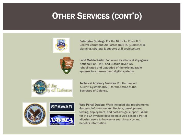 Other Services (cont'd)
