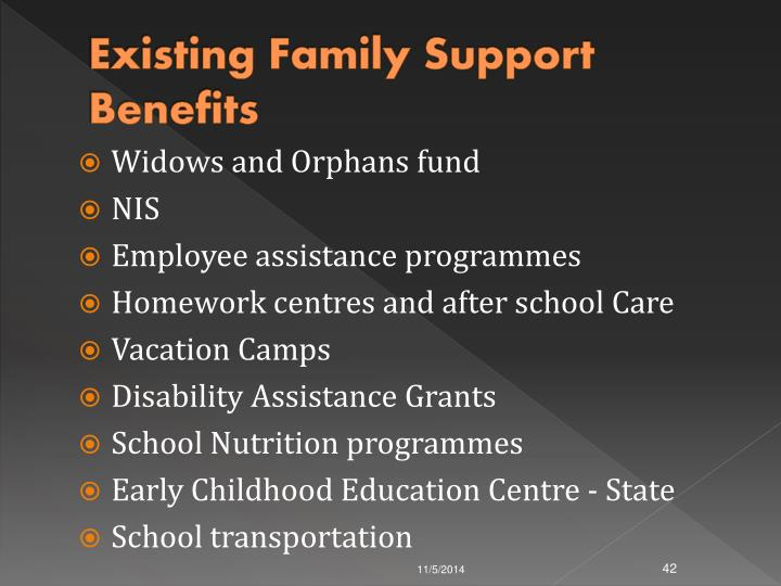 Existing Family Support Benefits