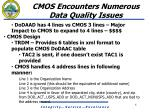 cmos encounters numerous data quality issues1