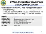 cmos encounters numerous data quality issues5