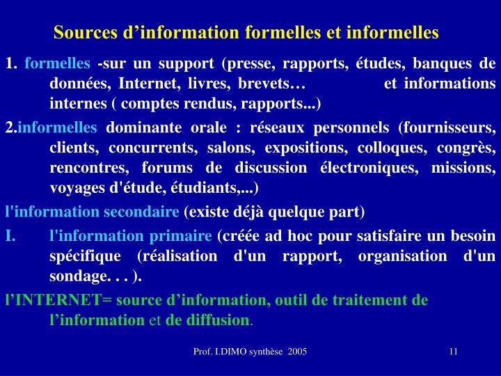 Sources d'information formelles et informelles