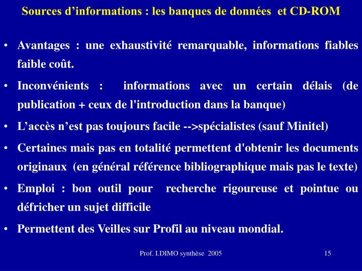 Sources d'informations : les banques de données  et CD-ROM