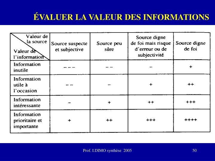 ÉVALUER LA VALEUR DES INFORMATIONS