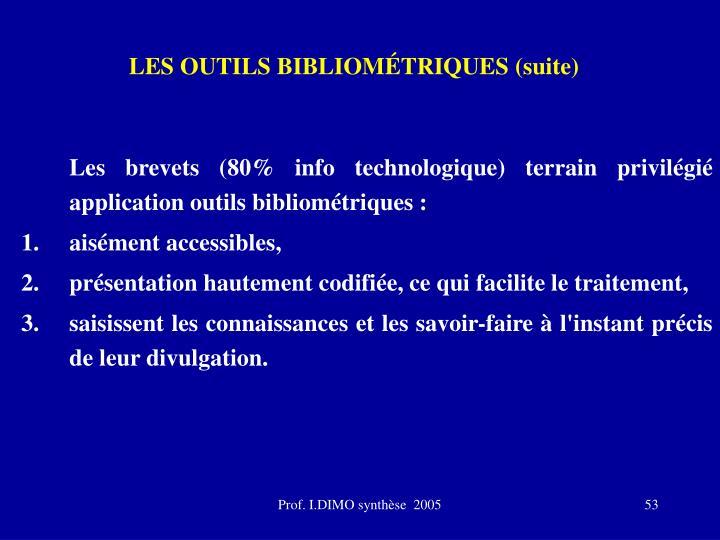 LES OUTILS BIBLIOMÉTRIQUES (suite)